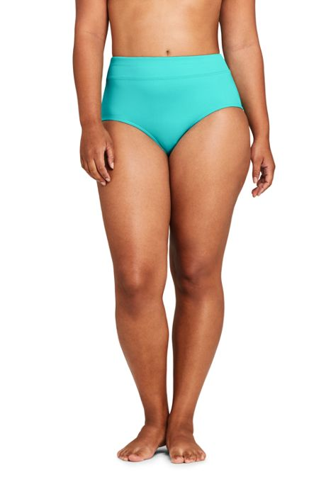 Women's Plus Size Chlorine Resistant Tummy Control High Waisted Bikini Bottoms
