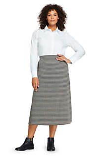 Women's Plus Size Print Knit Midi Skirt, Front