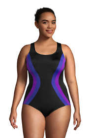 Women's Plus Size Chlorine Resistant Scoop Neck One Piece Athletic Swimsuit