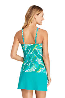 Women's Chlorine Resistant Square Neck Underwire Tankini Top Swimsuit Adjustable Straps, Back
