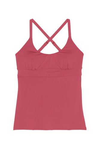 Women's D-Cup Scoop Neck Cross Back Tankini Top Swimsuit Adjustable Straps