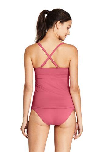 Women's Scoop Neck Cross Back Tankini Top Swimsuit Adjustable Straps
