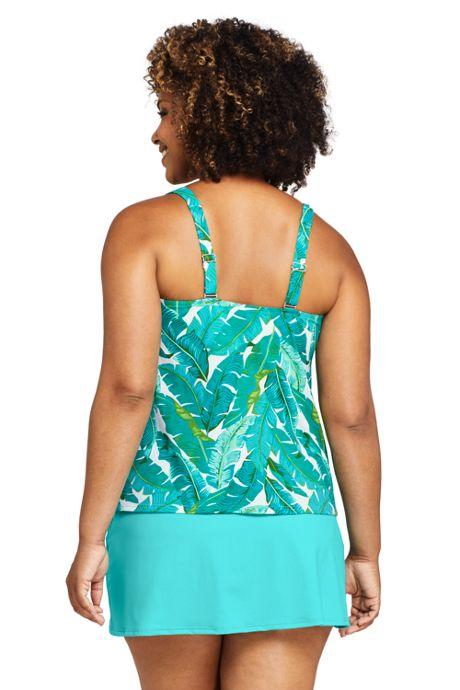 Women's Plus Size Chlorine Resistant Square Neck Underwire Tankini Top Swimsuit Adjustable Straps