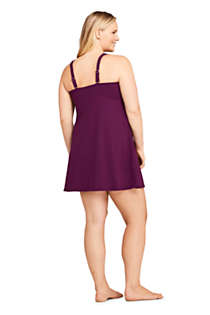 Women's Plus Size DD-Cup Wrap Square Neck Underwire Dresskini Tankini Top Swimsuit Adjustable Straps, Back