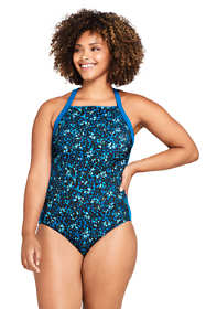 Women's Plus Size Chlorine Resistant Square Neck One Piece Athletic Swimsuit Print