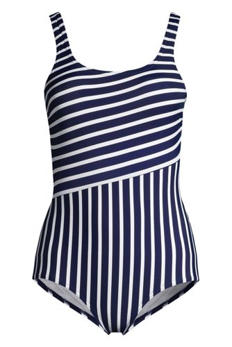 Women's Plus Size Chlorine Resistant Scoop Neck Soft Cup Tugless Sporty One Piece Swimsuit Print