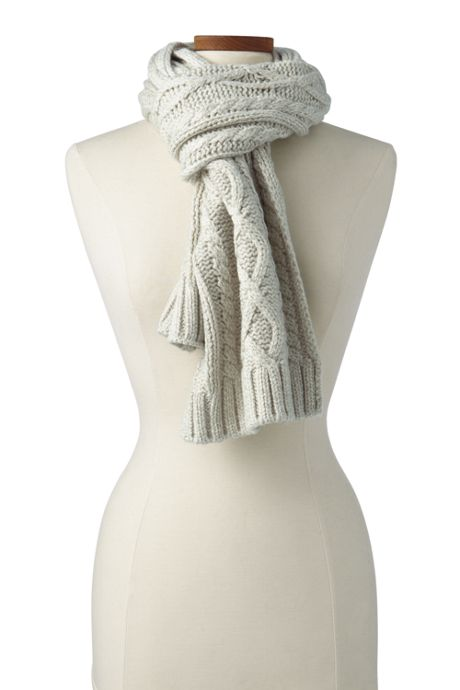 Women's Aran Cable Knit Winter Scarf