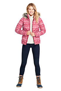 Women's Print Faux Fur Hooded Down Winter Jacket, alternative image