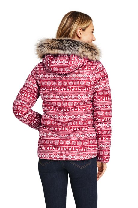 Women's Tall Print Faux Fur Hooded Down Winter Jacket