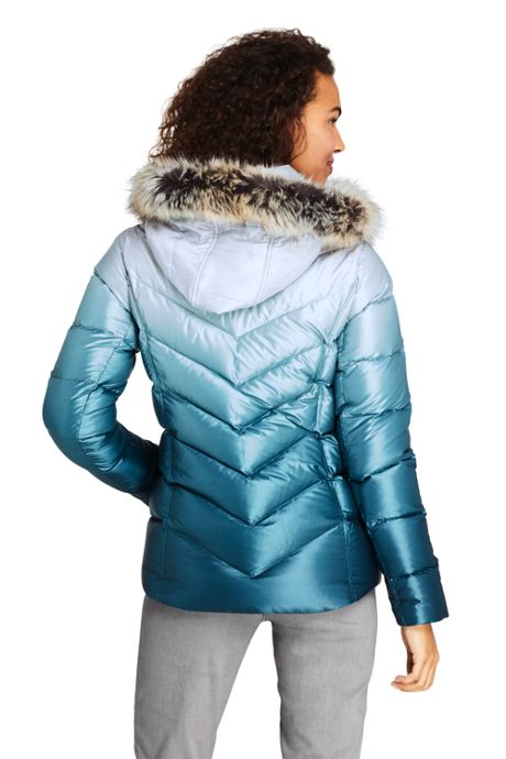 Women's Print Faux Fur Hooded Down Winter Jacket