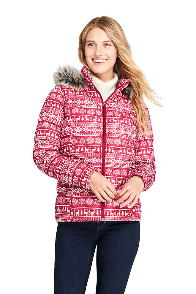 Women's Print Faux Fur Hooded Down Winter Jacket, Front