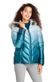 Women's Petite Print Faux Fur Hooded Down Winter Jacket