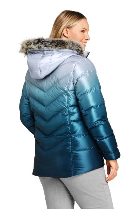 Women's Plus Size Petite Print Faux Fur Hooded Down Winter Jacket
