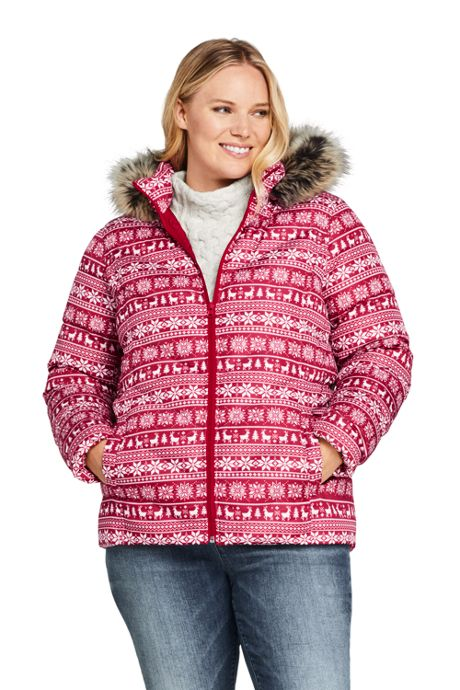 Women's Plus Size Print Faux Fur Hooded Down Winter Jacket