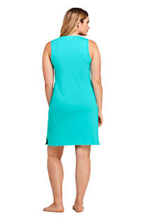 Women's Cotton Jersey Embellished Sleeveless Swim Cover-up Dress, Back