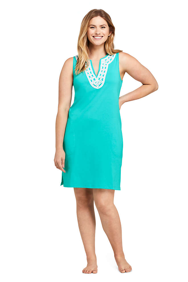 Women's Cotton Jersey Embellished Sleeveless Swim Cover-up Dress, Front
