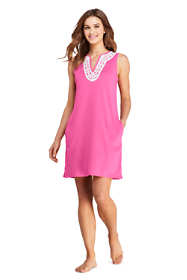 Women's Long Cotton Jersey Embellished Sleeveless Swim Cover-up Dress