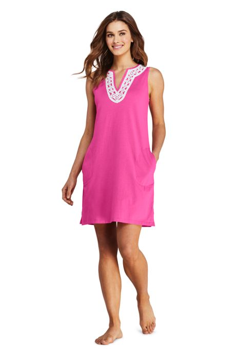 Women's Petite Cotton Jersey Embellished Sleeveless Swim Cover-up Dress