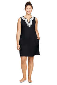 Women's Plus Size Cotton Jersey Embellished Sleeveless Swim Cover-up Dress