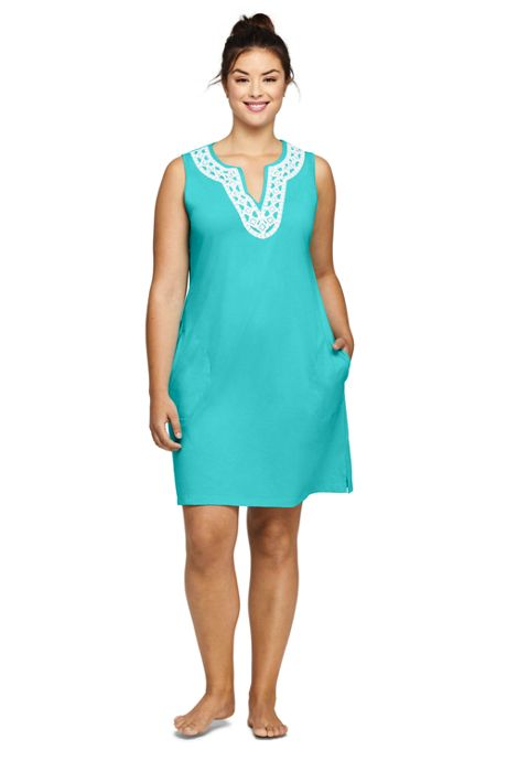 Women's Plus Size Cotton Jersey Embellished Sleeveless Swim Cover-up Dress