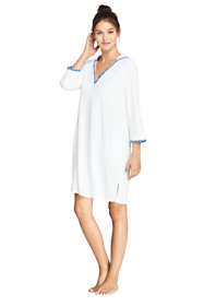 Women's Petite Terry 3/4 Sleeve Hooded Swim Cover-up