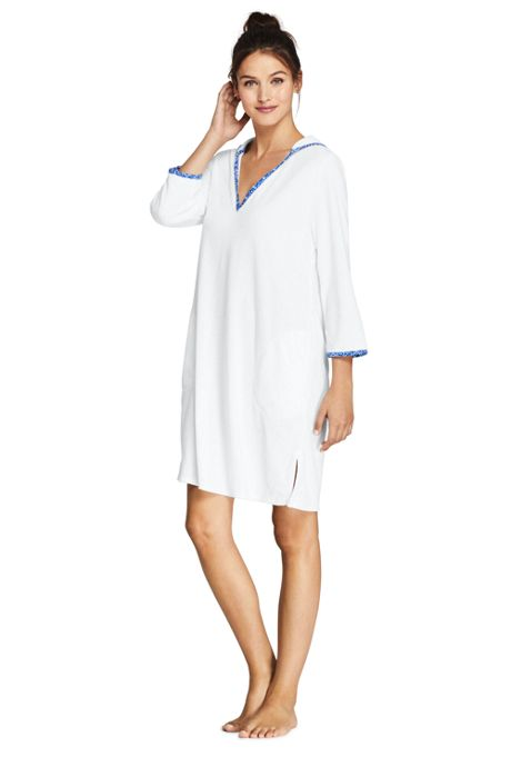 Women's Terry 3/4 Sleeve Hooded Swim Cover-up