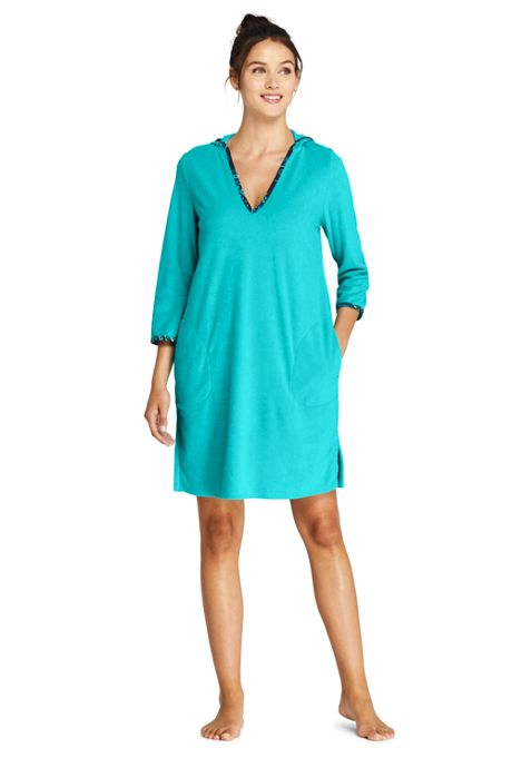 Women's Long Terry 3/4 Sleeve Hooded Swim Cover-up