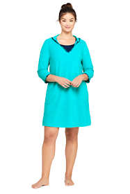 Women's Plus Size Terry 3/4 Sleeve Hooded Swim Cover-up