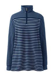 Women's Plus Size Long Sleeve Quarter Zip Serious Sweats Tunic Sweatshirt Mixed Stripe