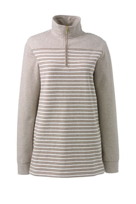 Women's Petite Serious Sweats Quarter Zip Long Sleeve Tunic Sweatshirt Stripe