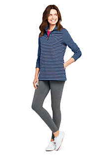 Women's Petite Serious Sweats Quarter Zip Long Sleeve Tunic Sweatshirt Stripe, Unknown