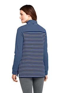 Women's Petite Serious Sweats Quarter Zip Long Sleeve Tunic Sweatshirt Stripe, Back