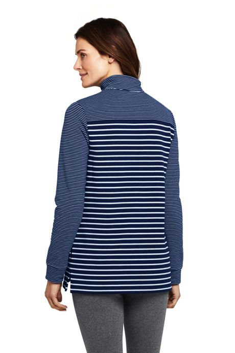 Women's Serious Sweats Quarter Zip Long Sleeve Tunic Sweatshirt Stripe