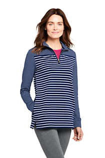Women's Petite Serious Sweats Quarter Zip Long Sleeve Tunic Sweatshirt Stripe, Front