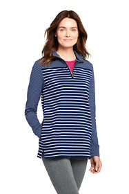 Women's Tall Serious Sweats Quarter Zip Long Sleeve Tunic Sweatshirt Stripe