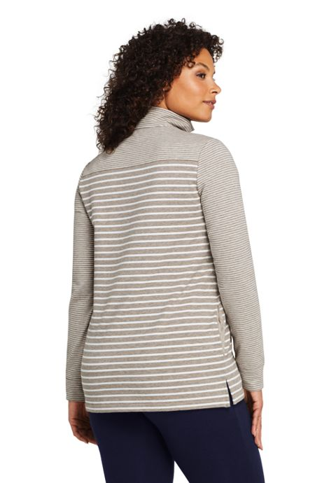 Women's Plus Size Long Sleeve Quarter Zip Serious Sweats Tunic Sweatshirt Mixed Stripe