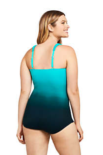 Women's Slender V-Neck Tummy Control Chlorine Resistant Skirted One Piece Swimsuit Print, Back