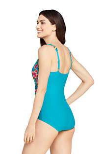 Women's D-Cup Slender V-Neck Tummy Control Chlorine Resistant Skirted One Piece Swimsuit Print, Back