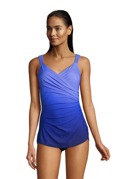 Women's DDD-Cup Slender V-Neck Tummy Control Chlorine Resistant Skirted One Piece Swimsuit Print
