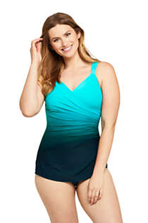 Women's Slender V-Neck Tummy Control Chlorine Resistant Skirted One Piece Swimsuit Print, Front