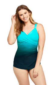 Women's Mastectomy Slender V-neck Tummy Control Chlorine Resistant Skirted One Piece Swimsuit Print