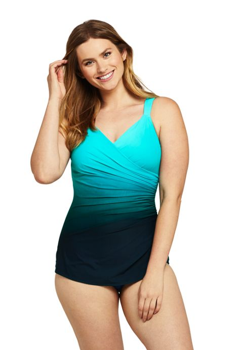 Women's Long Slender V-Neck Tummy Control Chlorine Resistant Skirted One Piece Swimsuit Print