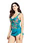 Women's V-neck Tunic Slender Swimsuit, Print