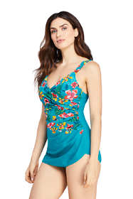 Women's DD-Cup Slender V-Neck Tummy Control Chlorine Resistant Skirted One Piece Swimsuit Print