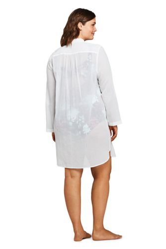 Women's Plus Size Cotton Embelished Button Down Shirt Dress Swim Cover-up