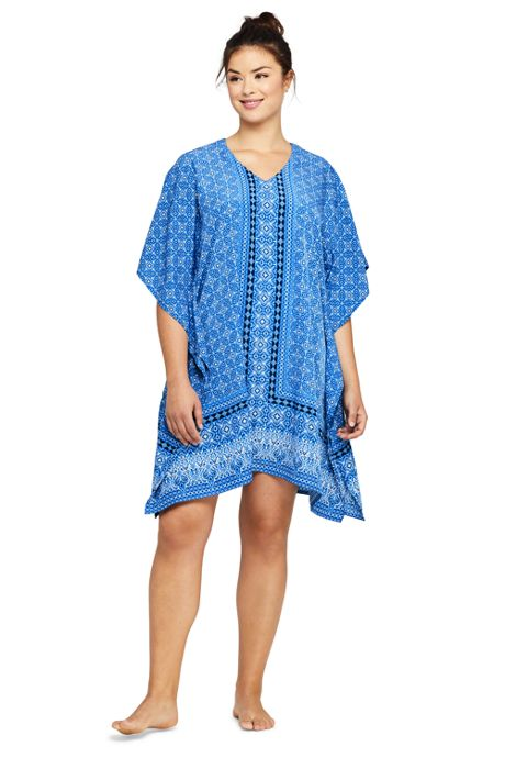 Women's Plus Size V-Neck Kaftan Swim Cover-up Dress Print