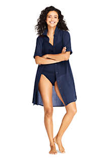 Women's Petite Cotton Embelished Button Down Shirt Dress Swim Cover-up, Unknown