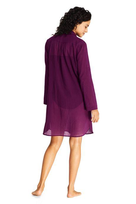 Women's Petite Cotton Embelished Button Down Shirt Dress Swim Cover-up