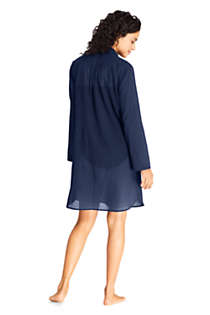 Women's Petite Cotton Embelished Button Down Shirt Dress Swim Cover-up, Back