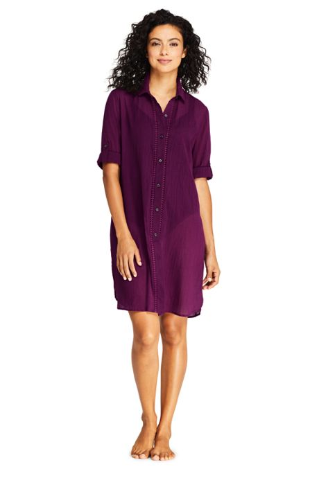 Women's Petite Cotton Embelished Button Down Shirt Dress Swim Cover-up